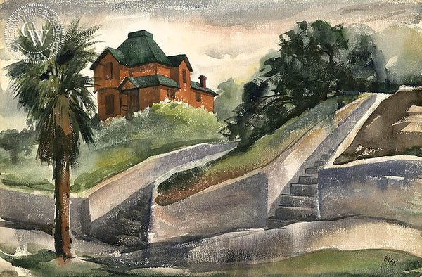 Charles Keck - Bunker Hill, c. 1940's, California art, original California watercolor art for sale - CaliforniaWatercolor.com