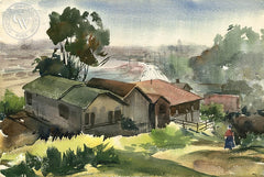 Charles Keck - Freeway Home, c. 1940's, California art, original California watercolor art for sale - CaliforniaWatercolor.com