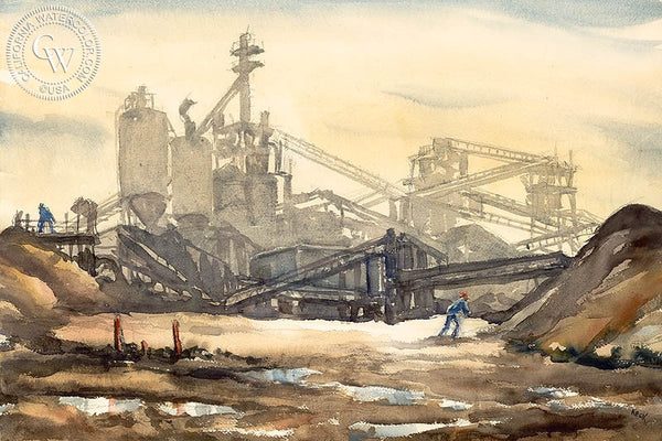 Charles Keck - Gravelworks, 1940, California art, original California watercolor art for sale - CaliforniaWatercolor.com