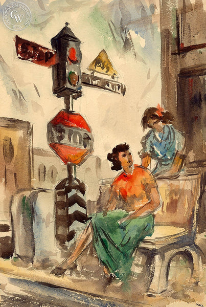 Charles Keck - Gossip Corner, c. 1940's, California art, original California watercolor art for sale - CaliforniaWatercolor.com