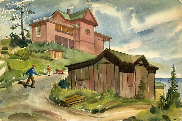 Charles Keck - Playtime on the California Coast, c. 1940's - California art - Californiawatercolor.com