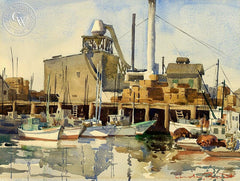 At the Dock, c. 1940, California art by Charles Payzant. HD giclee art prints for sale at CaliforniaWatercolor.com - original California paintings, & premium giclee prints for sale