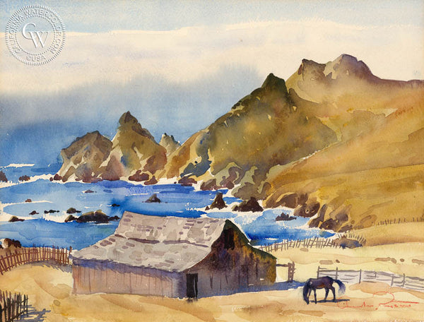 California Coastline, a California watercolor painting by Charles Payzant. HD giclee art prints for sale at CaliforniaWatercolor.com - original California paintings, & premium giclee prints for sale