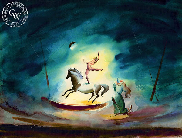 Circus, 1939, California art by Charles Payzant. HD giclee art prints for sale at CaliforniaWatercolor.com - original California paintings, & premium giclee prints for sale