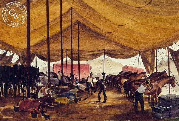 Circus Tent Interior, 1940, California art by Charles Payzant. HD giclee art prints for sale at CaliforniaWatercolor.com - original California paintings, & premium giclee prints for sale