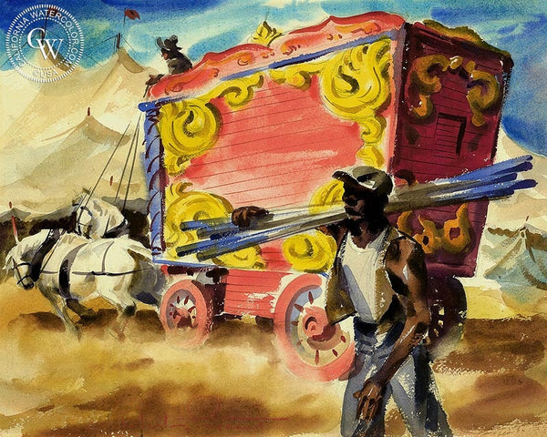 Circus Wagon, California art by Charles Payzant. HD giclee art prints for sale at CaliforniaWatercolor.com - original California paintings, & premium giclee prints for sale