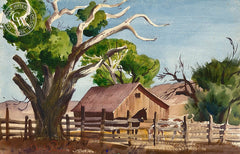 Corral, c. 1939, California art by Charles Payzant. HD giclee art prints for sale at CaliforniaWatercolor.com - original California paintings, & premium giclee prints for sale