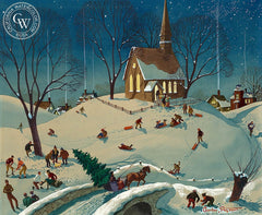 December Night, California art by Charles Payzant. HD giclee art prints for sale at CaliforniaWatercolor.com - original California paintings, & premium giclee prints for sale