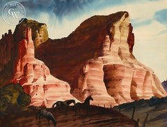 Horses in the Desert, California art by Charles Payzant. HD giclee art prints for sale at CaliforniaWatercolor.com - original California paintings, & premium giclee prints for sale