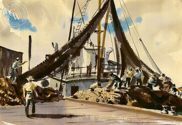 Fisherman at Net, 1948, California art by Charles Payzant. HD giclee art prints for sale at CaliforniaWatercolor.com - original California paintings, & premium giclee prints for sale