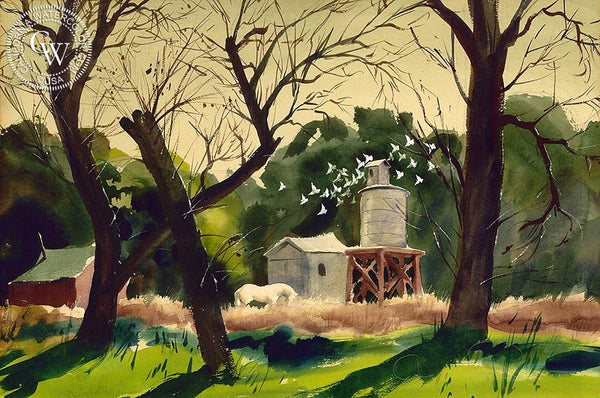 Horse in Farm Scene, c. 1940's, California art by Charles Payzant. HD giclee art prints for sale at CaliforniaWatercolor.com - original California paintings, & premium giclee prints for sale