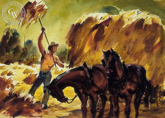 Loading Hay, California art by Charles Payzant. HD giclee art prints for sale at CaliforniaWatercolor.com - original California paintings, & premium giclee prints for sale