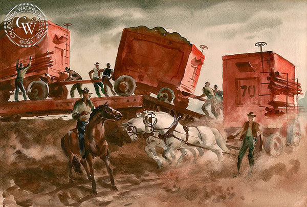 Loading the Circus, 1935, California art by Charles Payzant. HD giclee art prints for sale at CaliforniaWatercolor.com - original California paintings, & premium giclee prints for sale