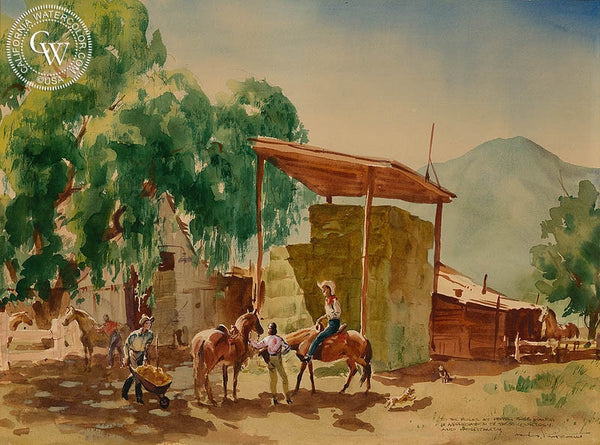 Pepper Tree Ranch, California art by Charles Payzant. HD giclee art prints for sale at CaliforniaWatercolor.com - original California paintings, & premium giclee prints for sale