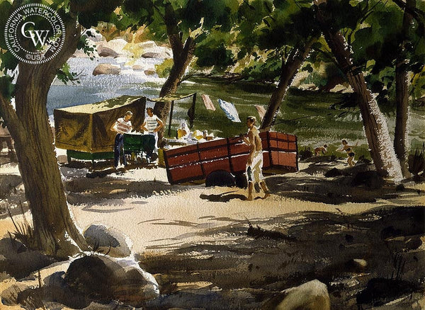 River Campout, c. 1940's, California art by Charles Payzant. HD giclee art prints for sale at CaliforniaWatercolor.com - original California paintings, & premium giclee prints for sale