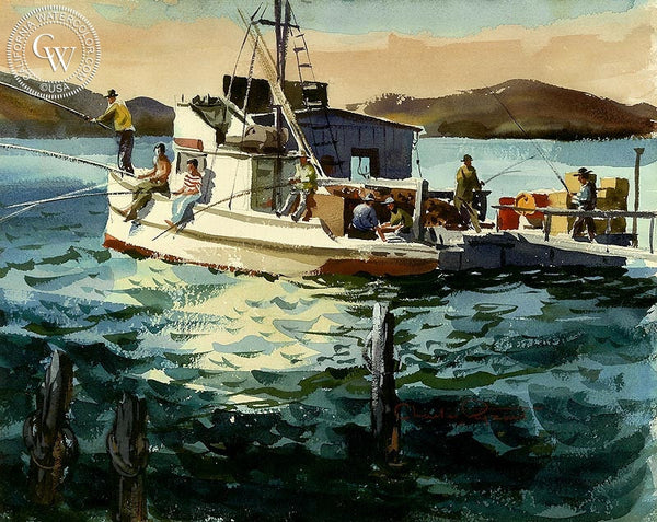 The Fishermen, California art by Charles Payzant. HD giclee art prints for sale at CaliforniaWatercolor.com - original California paintings, & premium giclee prints for sale