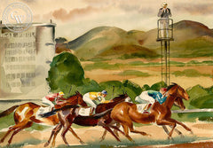The Horse Race, California art by Charles Payzant. HD giclee art prints for sale at CaliforniaWatercolor.com - original California paintings, & premium giclee prints for sale