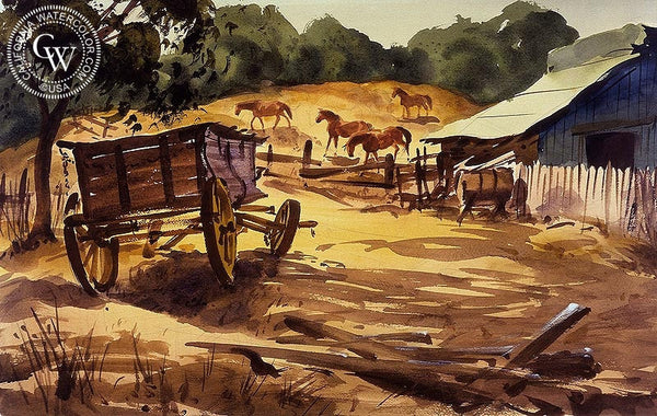 The Wagon, 1930, California art by Charles Payzant. HD giclee art prints for sale at CaliforniaWatercolor.com - original California paintings, & premium giclee prints for sale