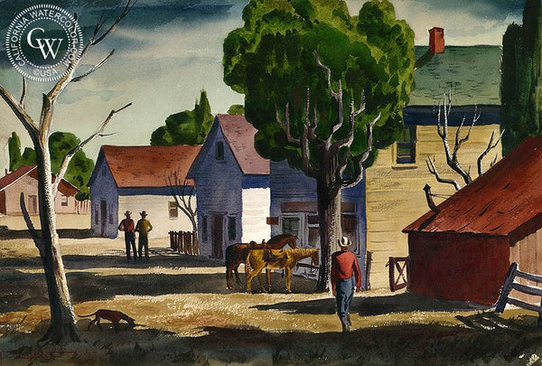 Two Horse Town, c. 1939, California art by Charles Payzant. HD giclee art prints for sale at CaliforniaWatercolor.com - original California paintings, & premium giclee prints for sale