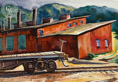 Railyardl, 1959, California art by Charles Surendorf. HD giclee art prints for sale at CaliforniaWatercolor.com - original California paintings, & premium giclee prints for sale