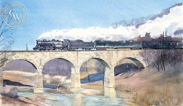 Across Wheeling Creek, California art by Chris Oldham. HD giclee art prints for sale at CaliforniaWatercolor.com - original California paintings, & premium giclee prints for sale
