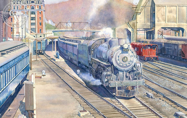 Always a Railroad Town, California art by Chris Oldham. HD giclee art prints for sale at CaliforniaWatercolor.com - original California paintings, & premium giclee prints for sale
