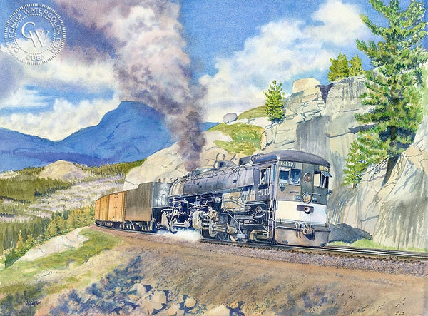 Westbound at Yuba Pass, California art by Chris Oldham. HD giclee art prints for sale at CaliforniaWatercolor.com - original California paintings, & premium giclee prints for sale
