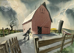 Stormy Night, 1935, California art by Claude Coats. HD giclee art prints for sale at CaliforniaWatercolor.com - original California paintings, & premium giclee prints for sale