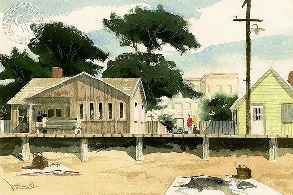 Boardwalk at Laguna, 1957, California art by Crandall Norton. HD giclee art prints for sale at CaliforniaWatercolor.com - original California paintings, & premium giclee prints for sale