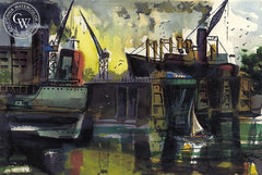 Loading Docks, Los Angeles Harbor, 1966, California art by Crandall Norton. HD giclee art prints for sale at CaliforniaWatercolor.com - original California paintings, & premium giclee prints for sale