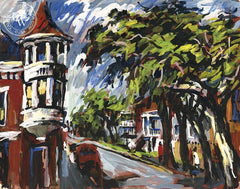 Bunker Hill, c. 1940's, California art by Dan Lutz. HD giclee art prints for sale at CaliforniaWatercolor.com - original California paintings, & premium giclee prints for sale