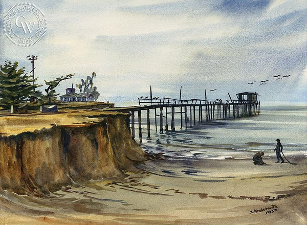 Boys at the Beach, 1955, California art by Daniel Mendelowitz. HD giclee art prints for sale at CaliforniaWatercolor.com - original California paintings, & premium giclee prints for sale
