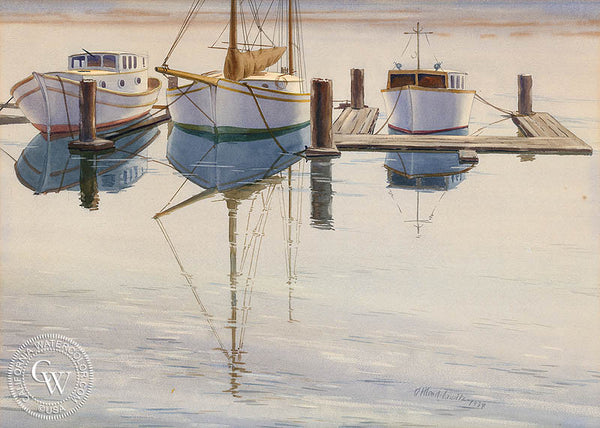 Boats at Rest, 1939, California art by Daniel Mendelowitz. HD giclee art prints for sale at CaliforniaWatercolor.com - original California paintings, & premium giclee prints for sale