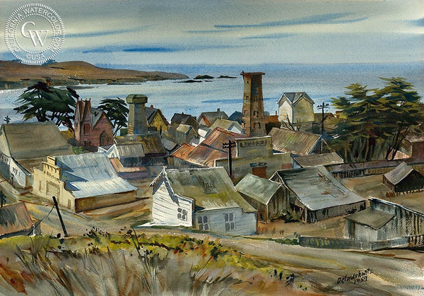 Mendocino, 1959, California art by Daniel Mendelowitz. HD giclee art prints for sale at CaliforniaWatercolor.com - original California paintings, & premium giclee prints for sale