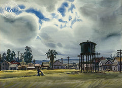 South Palo Alto, 1946, California art by Daniel Mendelowitz. HD giclee art prints for sale at CaliforniaWatercolor.com - original California paintings, & premium giclee prints for sale