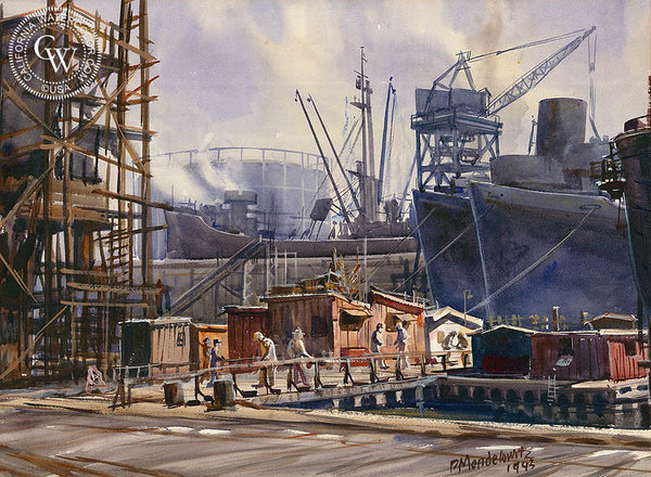 The Shipyards, 1943, California art by Daniel Mendelowitz. HD giclee art prints for sale at CaliforniaWatercolor.com - original California paintings, & premium giclee prints for sale