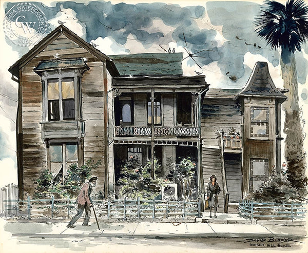 Bunker Hill House, c. 1940's, California art by David Blower. HD giclee art prints for sale at CaliforniaWatercolor.com - original California paintings, & premium giclee prints for sale