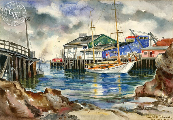Monterey Bay, c. 1940's, California art by David Blower. HD giclee art prints for sale at CaliforniaWatercolor.com - original California paintings, & premium giclee prints for sale