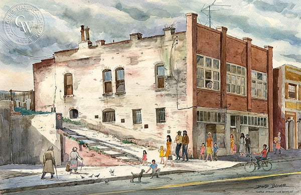 Temple Street, Los Angeles, c. 1940's, California art by David Blower. HD giclee art prints for sale at CaliforniaWatercolor.com - original California paintings, & premium giclee prints for sale