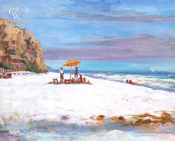 A Day at the Beach, Laguna, California art by David Solomon. HD giclee art prints for sale at CaliforniaWatercolor.com - original California paintings, & premium giclee prints for sale