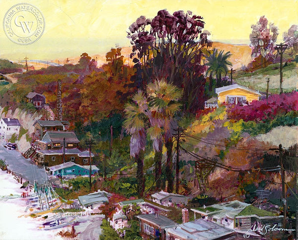 Crystal Cove, California art by David Solomon. HD giclee art prints for sale at CaliforniaWatercolor.com - original California paintings, & premium giclee prints for sale