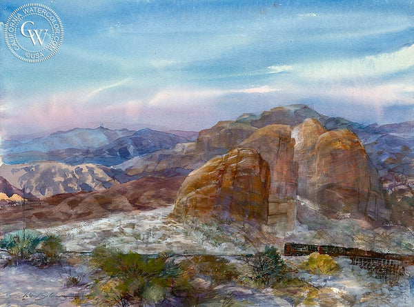 Desert Hilltop, California art by David Solomon. HD giclee art prints for sale at CaliforniaWatercolor.com - original California paintings, & premium giclee prints for sale