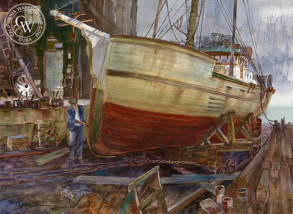 Dock Repair, California art by David Solomon. HD giclee art prints for sale at CaliforniaWatercolor.com - original California paintings, & premium giclee prints for sale
