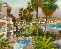 Inn at Laguna Beach, California art by David Solomon. HD giclee art prints for sale at CaliforniaWatercolor.com - original California paintings, & premium giclee prints for sale