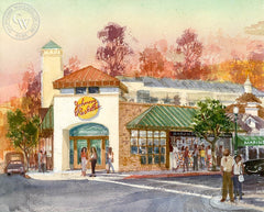 Johnny Rockets, California art by David Solomon. HD giclee art prints for sale at CaliforniaWatercolor.com - original California paintings, & premium giclee prints for sale