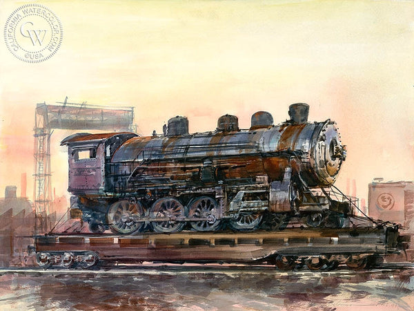 Nite Train, California art by David Solomon. HD giclee art prints for sale at CaliforniaWatercolor.com - original California paintings, & premium giclee prints for sale