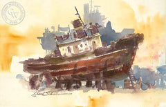 On the Dock, California art by David Solomon. HD giclee art prints for sale at CaliforniaWatercolor.com - original California paintings, & premium giclee prints for sale