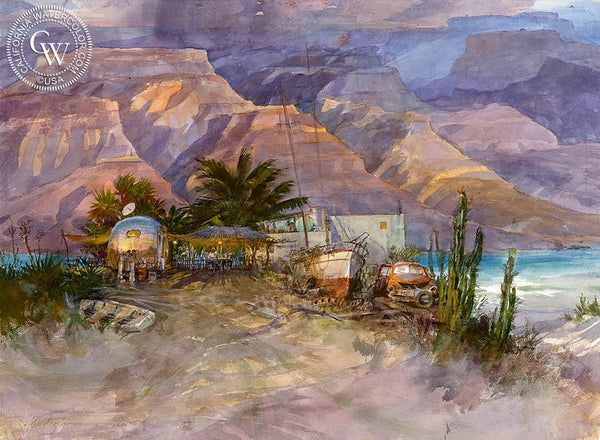 Oscar's, Baja, California art by David Solomon. HD giclee art prints for sale at CaliforniaWatercolor.com - original California paintings, & premium giclee prints for sale