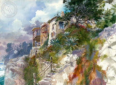 San Clemente Castle, California art by David Solomon. HD giclee art prints for sale at CaliforniaWatercolor.com - original California paintings, & premium giclee prints for sale