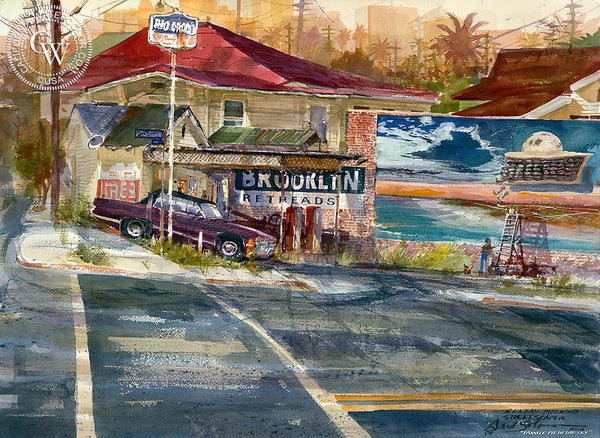 Sunday Morning Street Scaper, California art by David Solomon. HD giclee art prints for sale at CaliforniaWatercolor.com - original California paintings, & premium giclee prints for sale